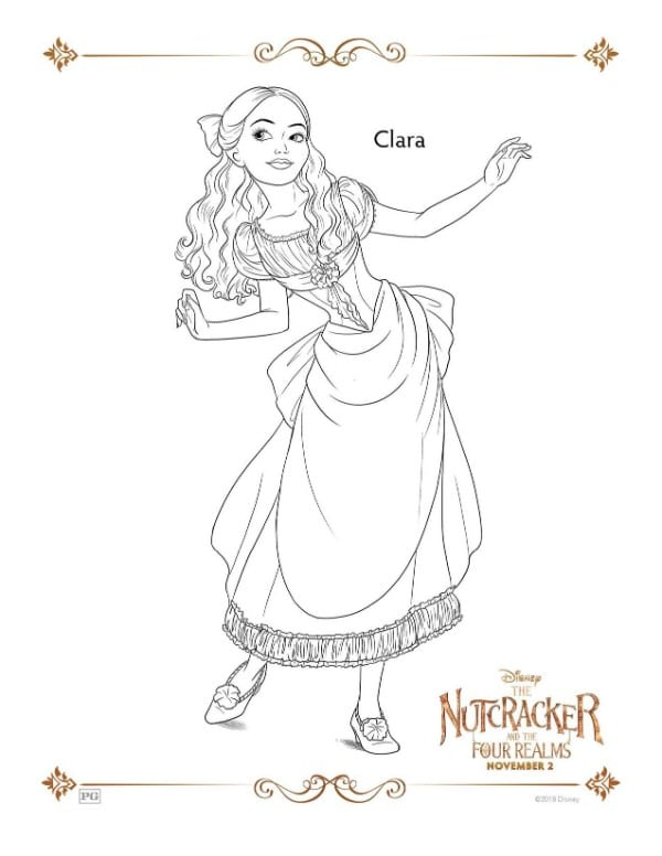 A Nutcracker printable coloring page for the character Clara