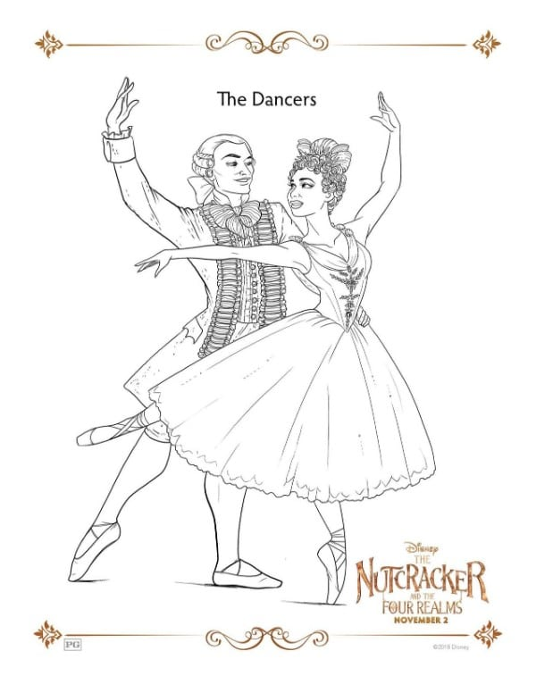 A Nutcracker printable coloring page for the dancers