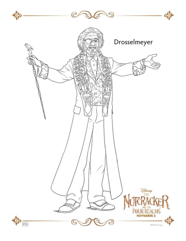 A Nutcracker printable coloring page for the character Drosselmeyer