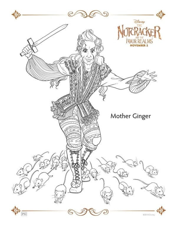A Nutcracker printable coloring page for the character Mother Ginger