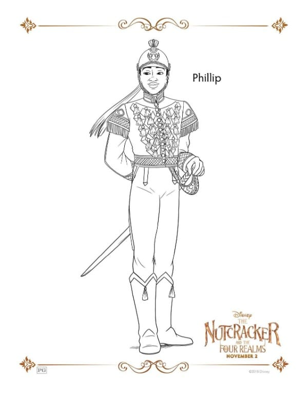 A Nutcracker printable coloring page for the character Phillip