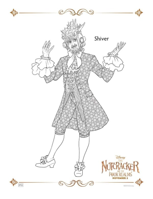 A Nutcracker printable coloring page for the character Shiver