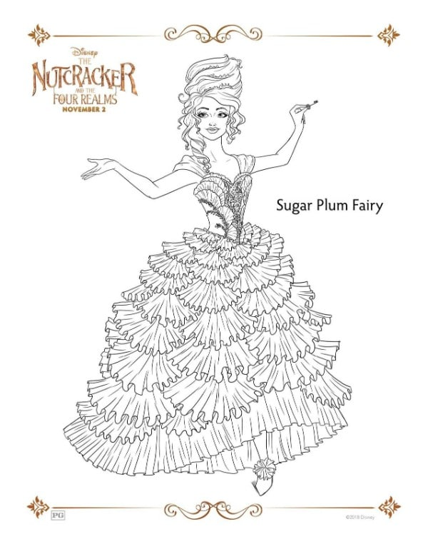 A Nutcracker printable coloring page for the character Sugar Plum Fairy
