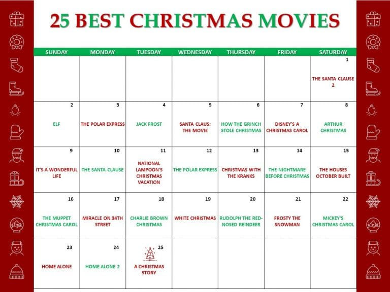 a calendar with title text reading 25 Best Christmas Movies