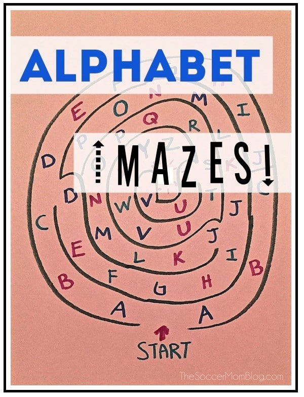 a maze with letters in it with title text reading Alphabet Mazes