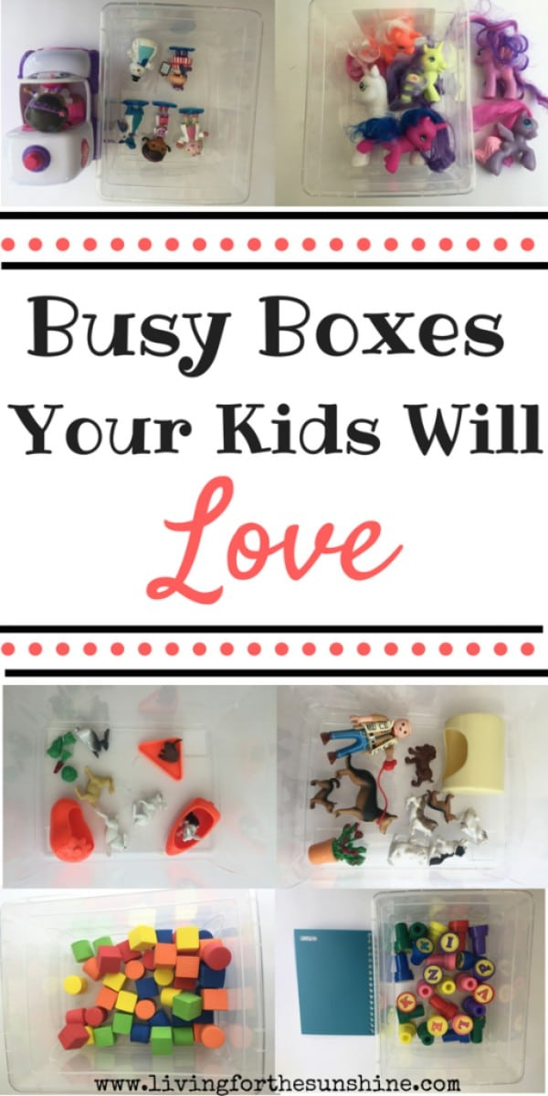 a collage of plastic boxes filled with various objects with title text reading Busy Boxes Your Kids Will Love
