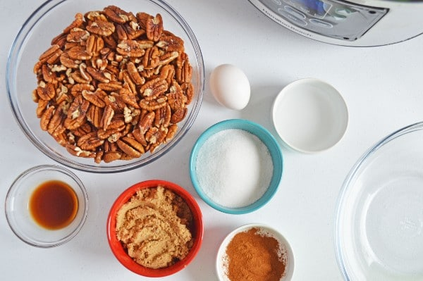 bowls of pecans, sugar, brown sugar and seasonings with an instant pot in the background