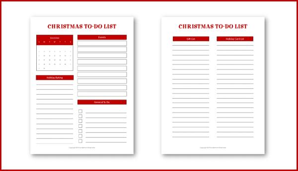 printable Christmas to do lists