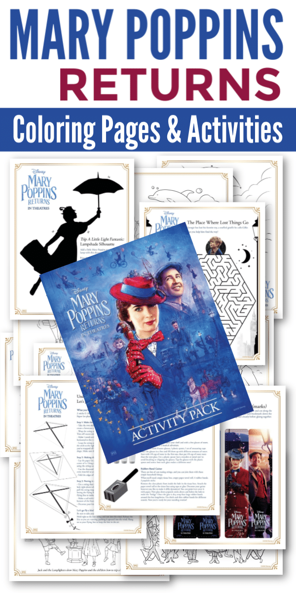 This activity pack is full of FREE Mary Poppins Returns Coloring Pages and Activities for kids. #printables #activitypack #kidsactivities #MaryPoppinsReturns via @wondermomwannab