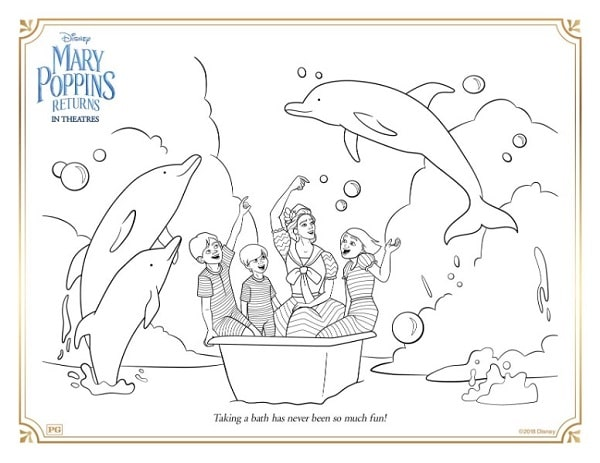 a coloring page with Mary Poppins and three kids in a bath tub in the ocean surrounded by dolphins