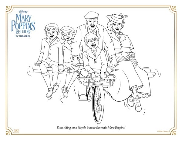 a coloring page with Mary Poppins, a man and 3 kids on a bicycle