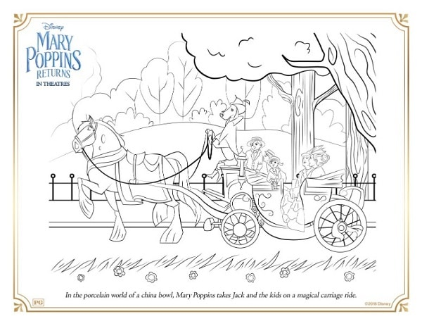 a coloring page with Mary Poppins and other ladies on a carriage ride