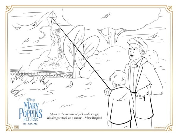 a coloring page with Mary Poppins holding onto a kite a boy and man are flying