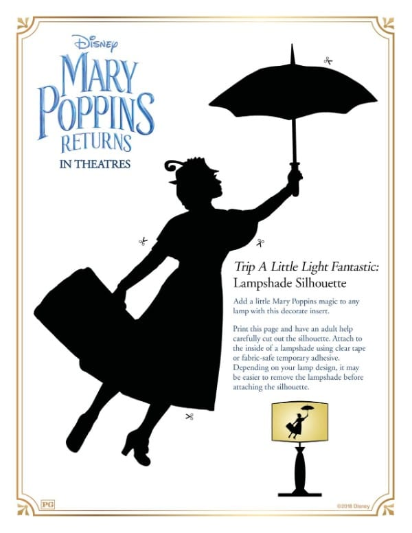 printable Mary Poppins lampshade silhouette
