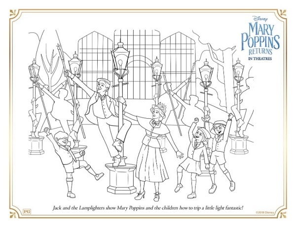 a coloring page with Mary Poppins and some lamp lighters