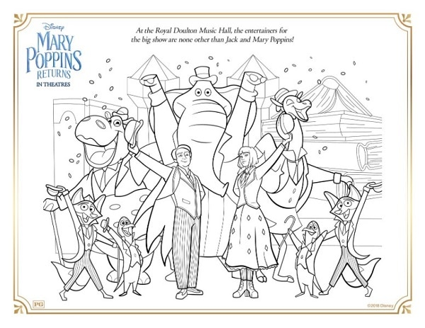 a coloring page of Mary Poppins performing at Doulton Music Hall
