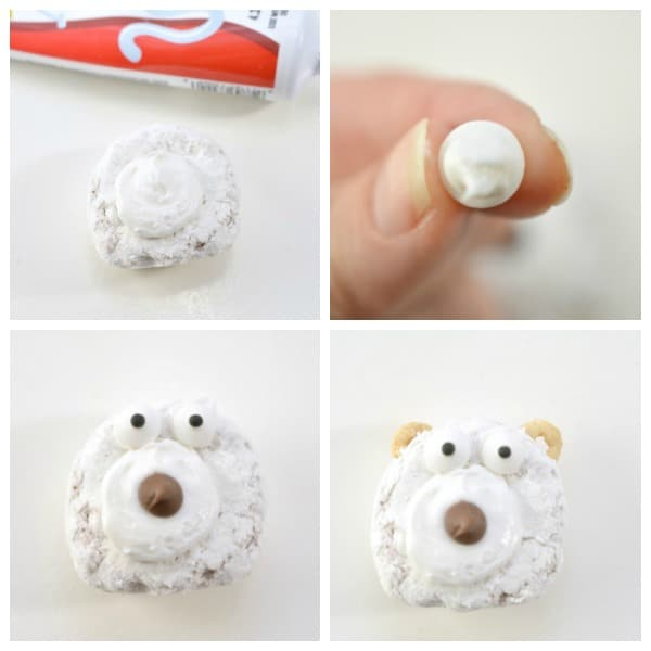 a collage of the steps to make polar bear donuts