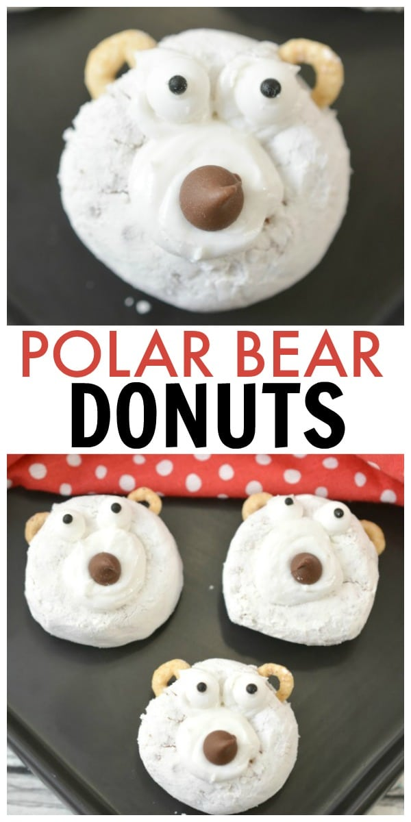 a collage of polar bear donuts with title text reading Polar Bear Donuts