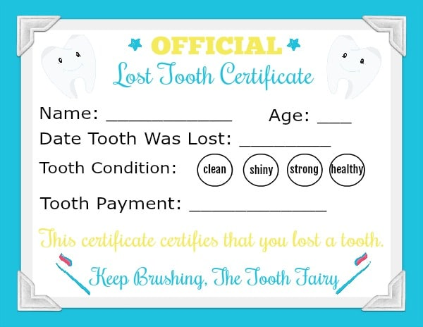 blue Printable Tooth Fairy Letter