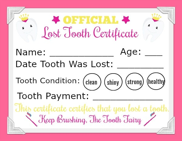pink Printable Tooth Fairy Letter