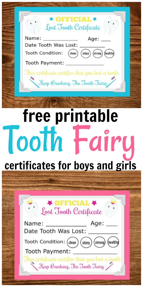 a collage of a pink and blue framed Printable Tooth Fairy Letter on a table
