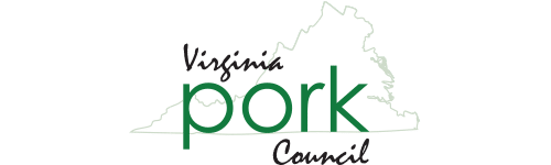 a graphic of a mountain with title text reading Virginia Pork Council