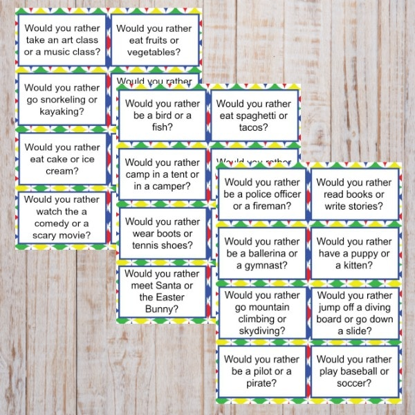 Would You Rather Questions for Kids printables on a wood background