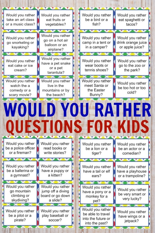 photo about Would You Rather Printable named Would Oneself Pretty Queries for Youngsters