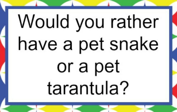 a printable card with this question on it, Would you rather have a pet snake or a pet tarantula?