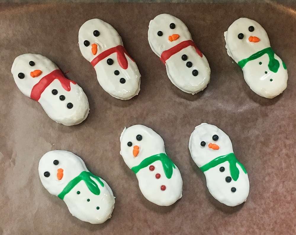 Finished snowman nutter butter cookies
