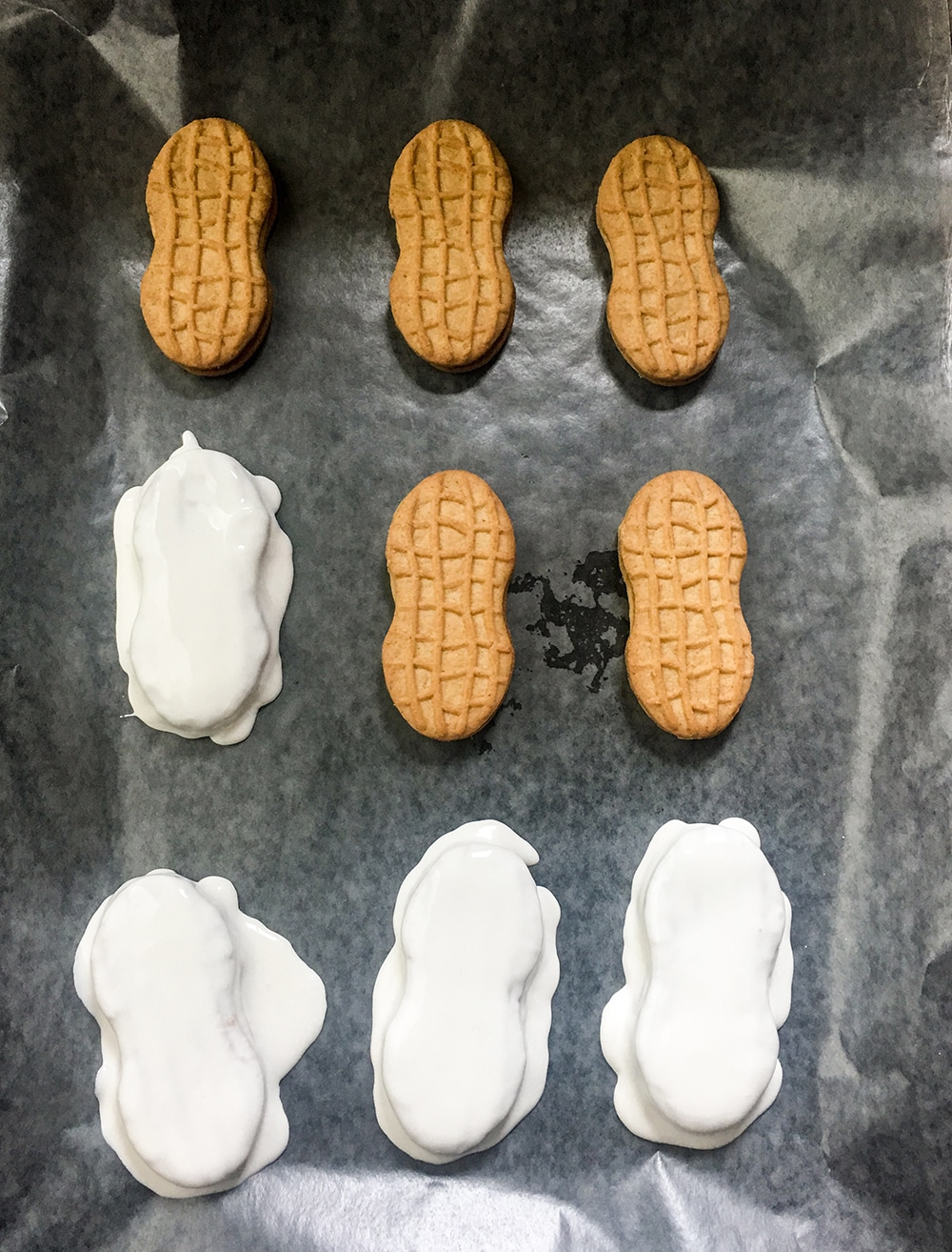 Apply icing to snowman nutter butter cookies