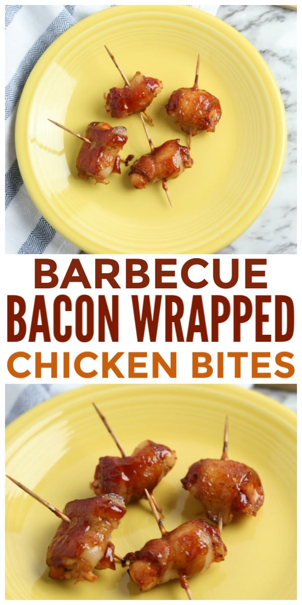 a collage of BBQ Bacon Wrapped Chicken Bites with toothpicks in them on a yellow plate with title text reading Barbecue Bacon Wrapped Chicken Bites