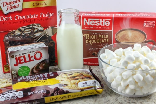 ingredients needed for Hot Cocoa Chocolate Dump Cake