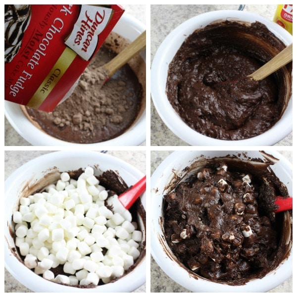 directions for a Hot Cocoa Chocolate Dump Cake