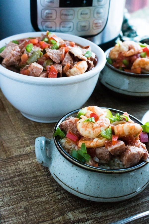 a collage of bowls filled with sausage & shrimp gumbo on a table with an instant pot in the background