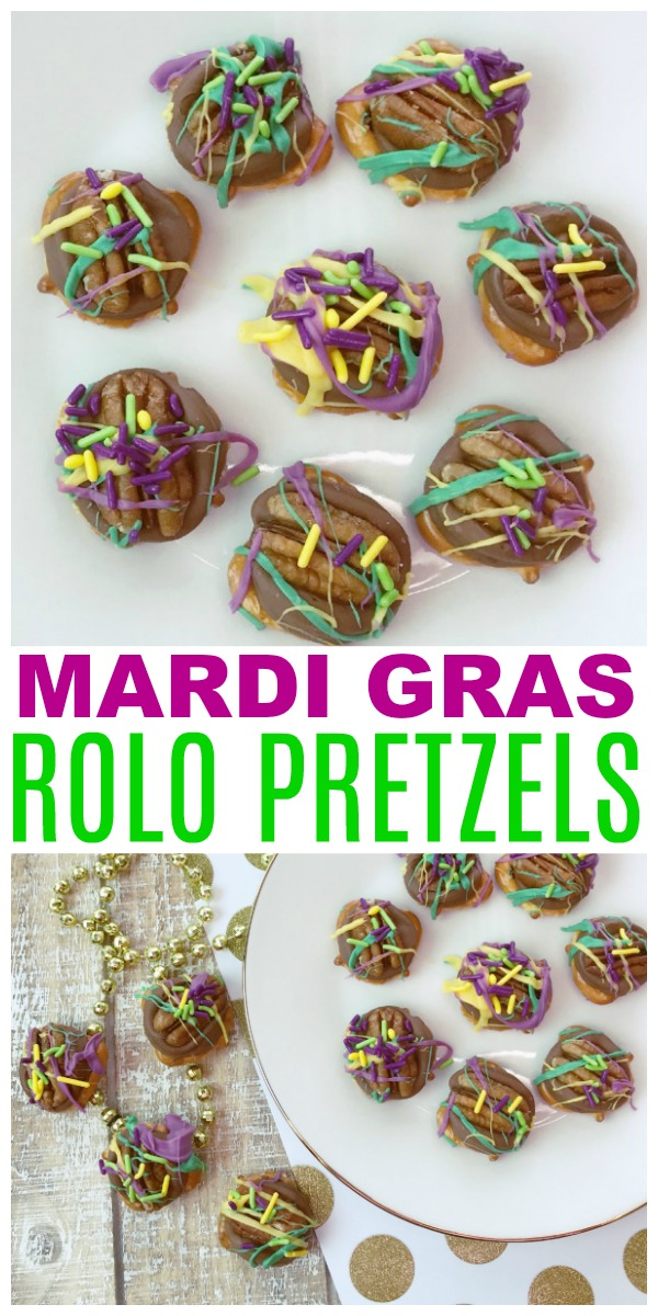 a collage of pretzels topped with chocolate, a pecan, purple frosting and colored sprinkles, all on a white plate with title text reading Mardi Gras Rolo Pretzels