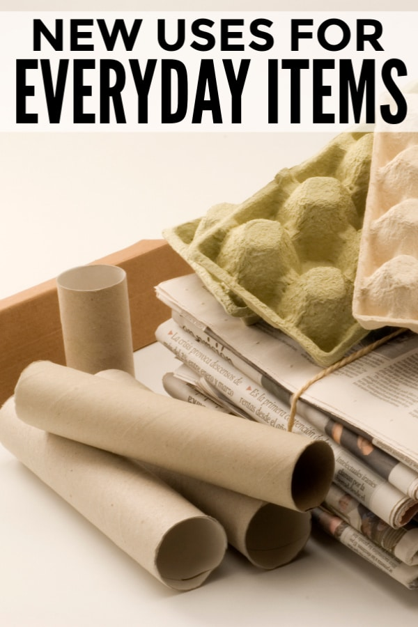 paper towel rolls, newspapers and egg cartons with title text reading New Uses for Everyday Items