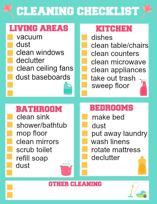 graphic about Free Printable Cleaning Schedule identified as Printable Cleansing List