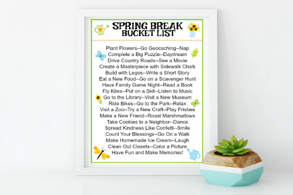 printable Spring Break Bucket List on a white background with a plant next to it