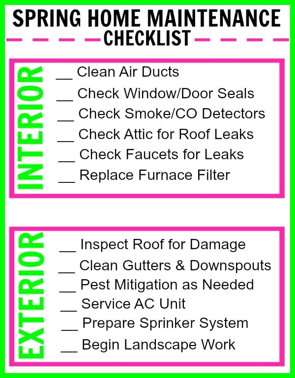 printable Spring Home Maintenance Checklist