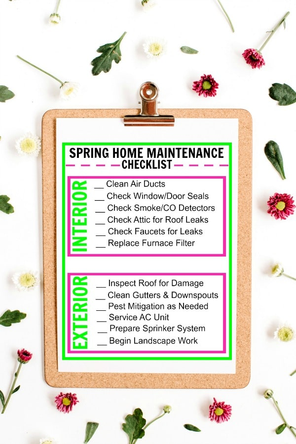 printable Spring Home Maintenance Checklist on a clipboard on a white background with flowers and leaves