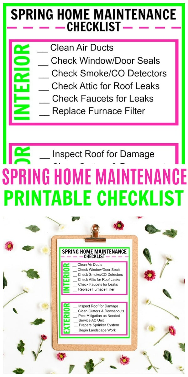 This free printable Spring Home Maintenance Checklist will help you stay on top of important home maintenance activities that need to be done. #checklist #printables #spring #home via @wondermomwannab