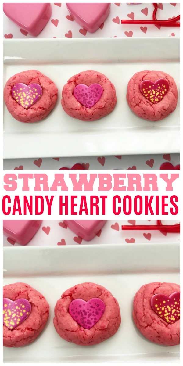 a collage of Strawberry Candy Heart Cookies on a tray on heart paper with plastic hearts and stickers next to it with title text reading Strawberry Candy Heart Cookies