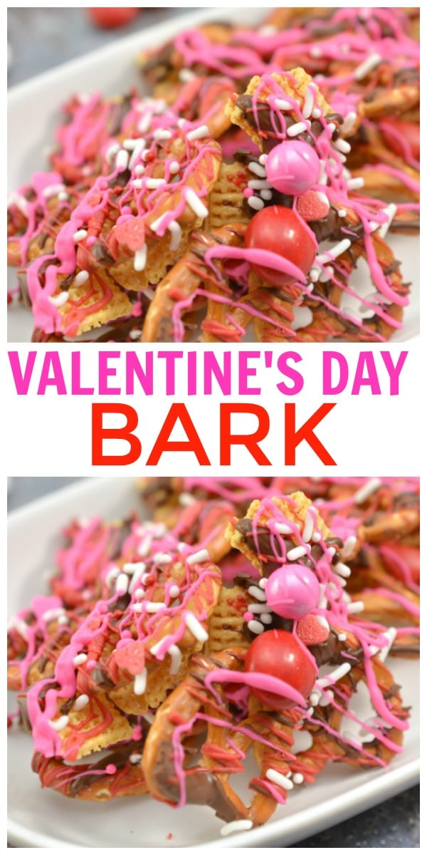 Valentine Bark is an easy Valentine's Day snack mix that is crunchy, sweet and salty. This Valentine's Day Bark is perfect for school parties. #bark #ValentinesDay #treats #dessert