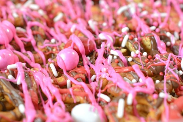 breaking up the Valentine Bark after it is set