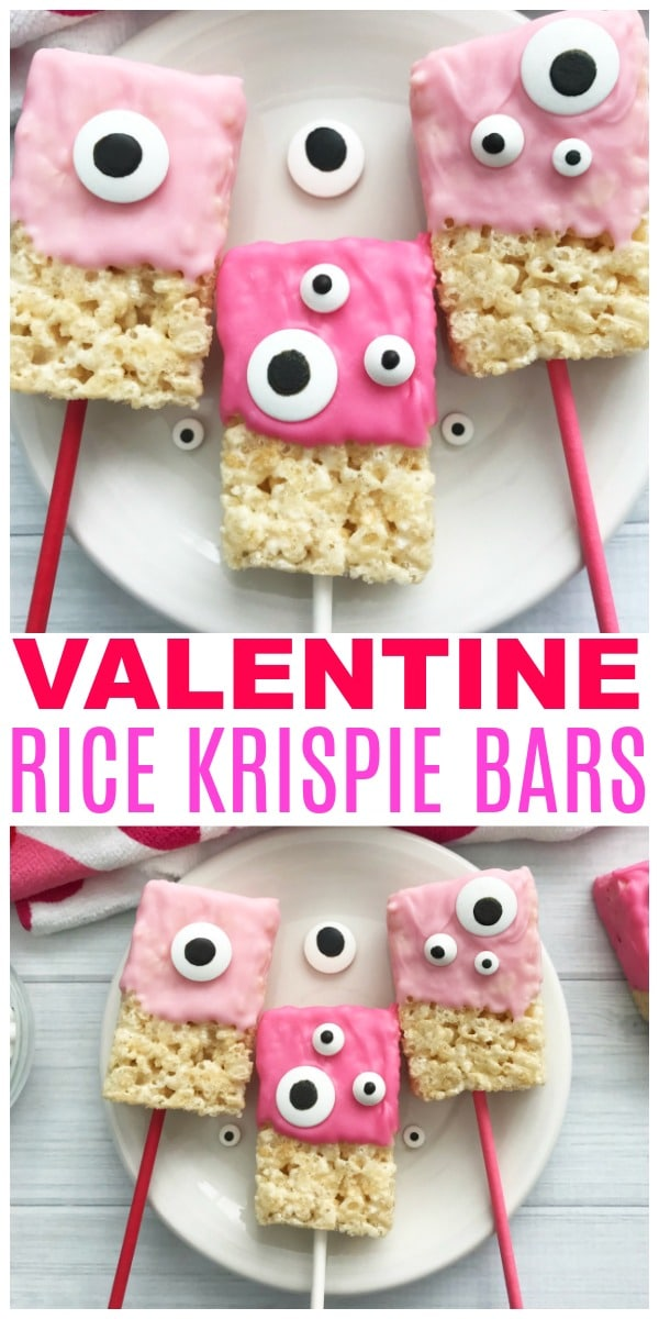 a collage of Valentine Rice Krispie Bars with pink frosting and monster candy eyes on a plate with more in the background on a heart cloth with title text reading Valentine Rice Krispie Bars