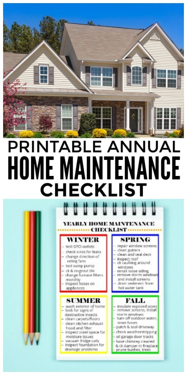 Printable Yearly Home Maintenance Checklist