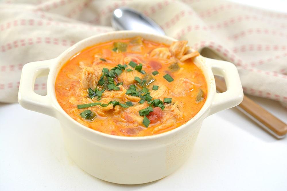 Easy chicken enchilada soup closeup