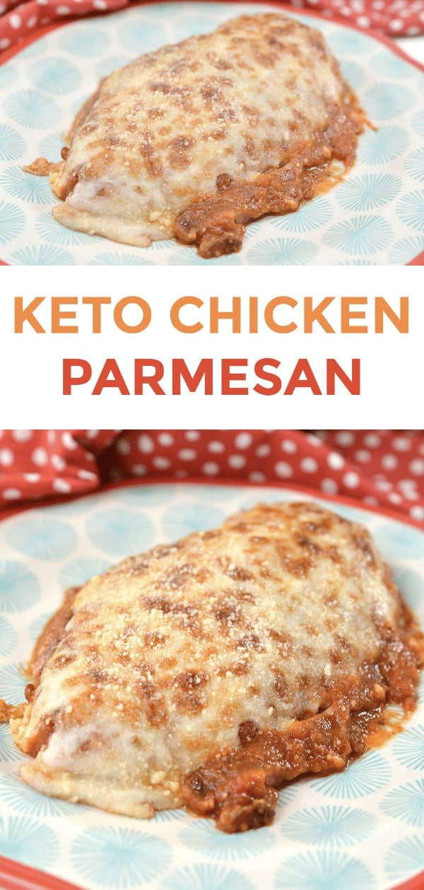 a collage of chicken topped with cheese and sauce on a blue and red plate with title text reading Keto Chicken Parmesan