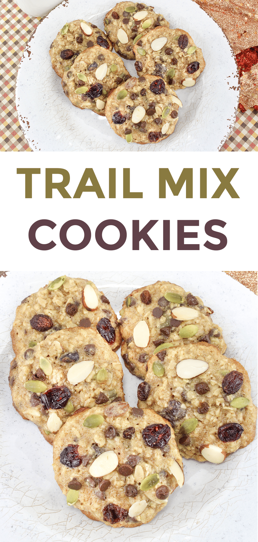a collage of five trail mix cookies on a white plate with title text reading Trail Mix Cookies